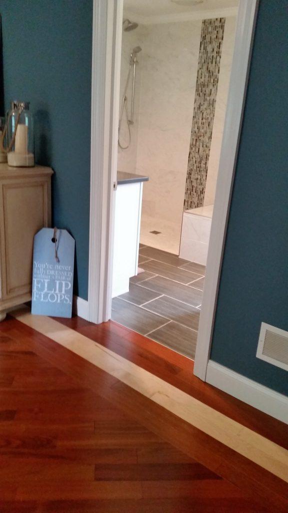 hardwood floor and tile
