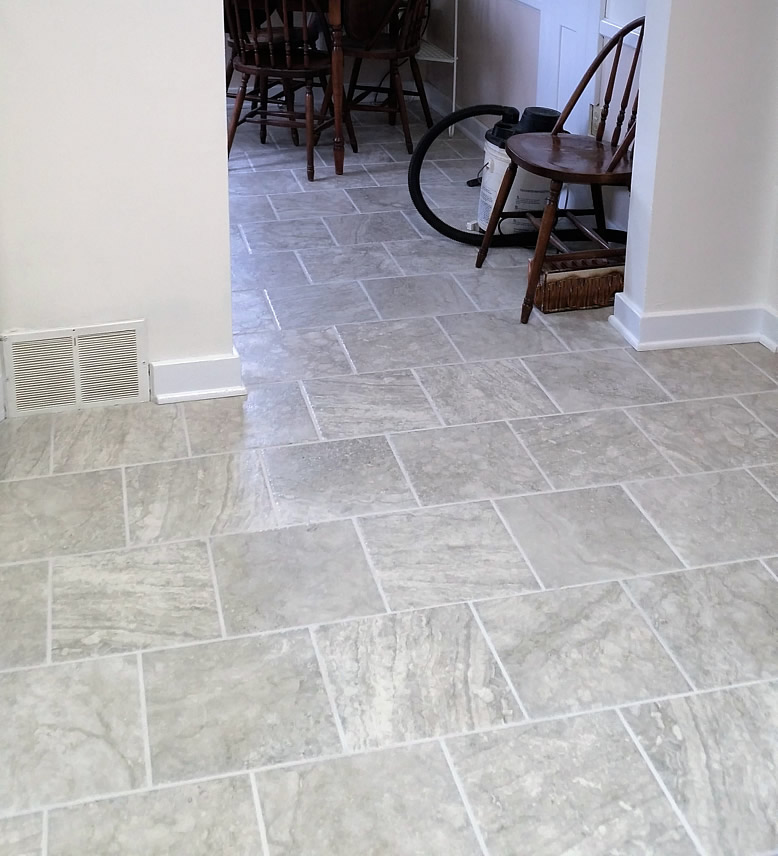 Natural stone floor after cleanup